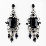 Vintage Silver & Black Crystal Drop Earrings E 936