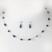 Navy Pearl & Swarovski Crystal Jewelry Set NE 226