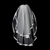 "VS E White - 3/8"" Satin Ribbon Edge Veil, 2 Layers Elbow Length Veil (25"" x 30"")"