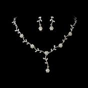 * Charming Silver Clear Rhinestone Necklace & Earring Set 383