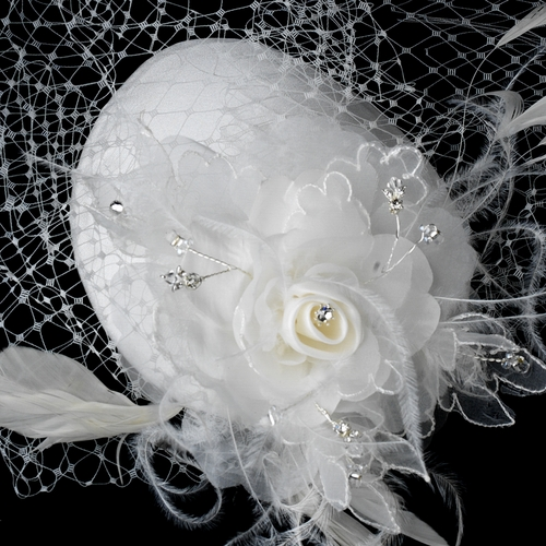 Vintage White or Ivory Bridal Hat w/ Bird Cage Face Veil & Flower Adornment 8307
