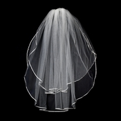 "VS E Ivory - 1/8"" Satin Ribbon Edge Veil, 2 Layers Elbow Length Veil (25"" x 30"")"