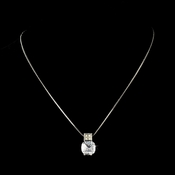 Gorgeous Antique Silver Clear Cushion Cut CZ Necklace 3518