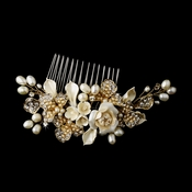 Precious Gold Flower Headpiece Comb w/ Ivory Pearls 8278