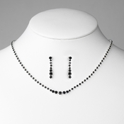 * Black Accented Crystal Jewelry Set NE 337