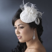 * Emroidered Feather Flower Bridal Hat Comb with Russian Tulle Accent in White or Ivory 3027