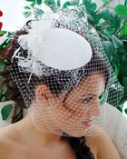 * Vintage Bridal Hat with Bird Cage Veil Comb 8306