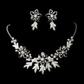 Stunning Silver Black Jewelry Set NE 8100