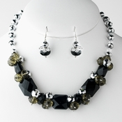 Black Necklace Earring Set 8548