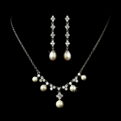 Necklace Earring Set N 2615 E 2536 Silver Ivory