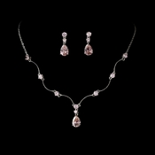 Necklace Earring Set N 2701 E 2845 Silver Pink