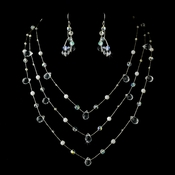 Necklace Earring Set N 8378 E 8382 Silver Clear