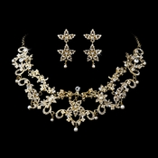 * Necklace Earring Set 1013 Gold Clear