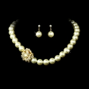 Necklace Earring Set 1023 Gold Ivory