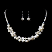 Necklace Earring Set 1044 Silver White