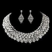 Necklace Earring Set 1047 Antique Silver Clear