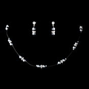 Necklace Earring Set 206 Light Silver