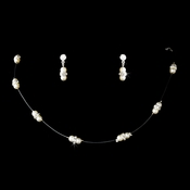 Necklace Earring Set 206 Silver Ivory
