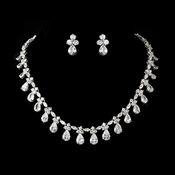 Necklace Earring Set NE 2404 Silver Cubic Zirconia Jewelry Set