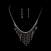 Necklace Earring Set 3126 Silver Pink