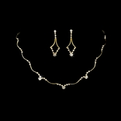 Necklace Earring Set 343 Gold Clear
