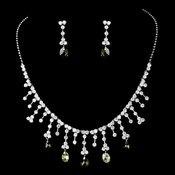 Necklace Earring Set NE 3628 Silver Olive