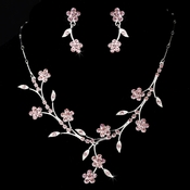 Necklace Earring Set NE 363 Silver Pink