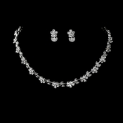 * Necklace Earring Set 392 Silver Clear