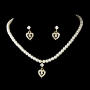Necklace Earring Set 406 C Gold Ivory