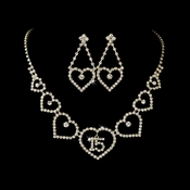 Gold Sweet 15 Quincea�era Rhinestone Heart Necklace & Earring Jewelry Set NE 460
