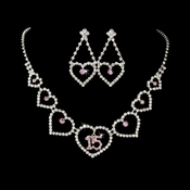 Light Pink Rhinestone Sweet 15 Quincea�era Heart Necklace & Earring Jewelry Set NE 460