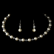 Ivory Pearl Choker Necklace & Earrings Set 511