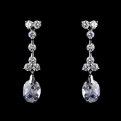 Gorgeous Antique Silver Clear CZ Dangle Earrings 3628