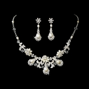 Ravishing Silver Clear Crystal & Freshwater Pearl Necklace & Earring Set 6291