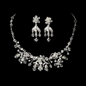 Necklace Earring Set 6317 Silver Clear