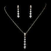 Necklace Earring Set-71789-Gold-Clear