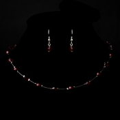 Silver Garnet Necklace Earring 7220