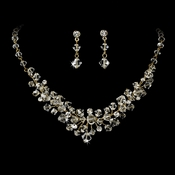 Gold Clear Swarovski Crystal Bridal Necklace Earring Set NE 7602