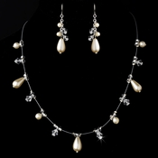 Necklace Earring Set NE 8351 Silver Ivory