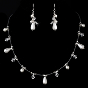 Necklace Earring Set NE 8351 Silver White