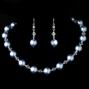 Necklace Earring Set NE 8355 Light Blue