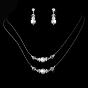 Necklace Earring Set NE 8359 Silver White