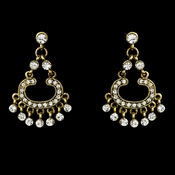 Gold Clear Rhinestone Earrings E 20377