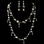 Necklace Earring Set 8396 Silver Ivory