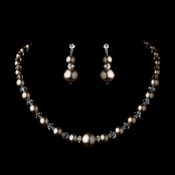 Necklace Earring Set NE 8424 Brown-
