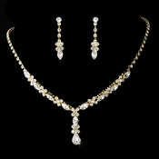 Necklace Earring Set 9235 Gold Clear