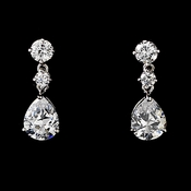 Silver-Clear Cubic Zirconia Earrings E2845-CL