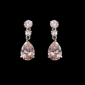 Silver Pink Cubic Zirconia Earrings E 2845