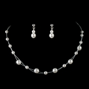 Children's Necklace Earring Set8441 Silver White