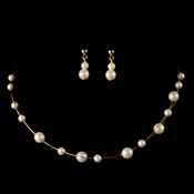 Children's Necklace Earring Set 8441 Gold Ivory